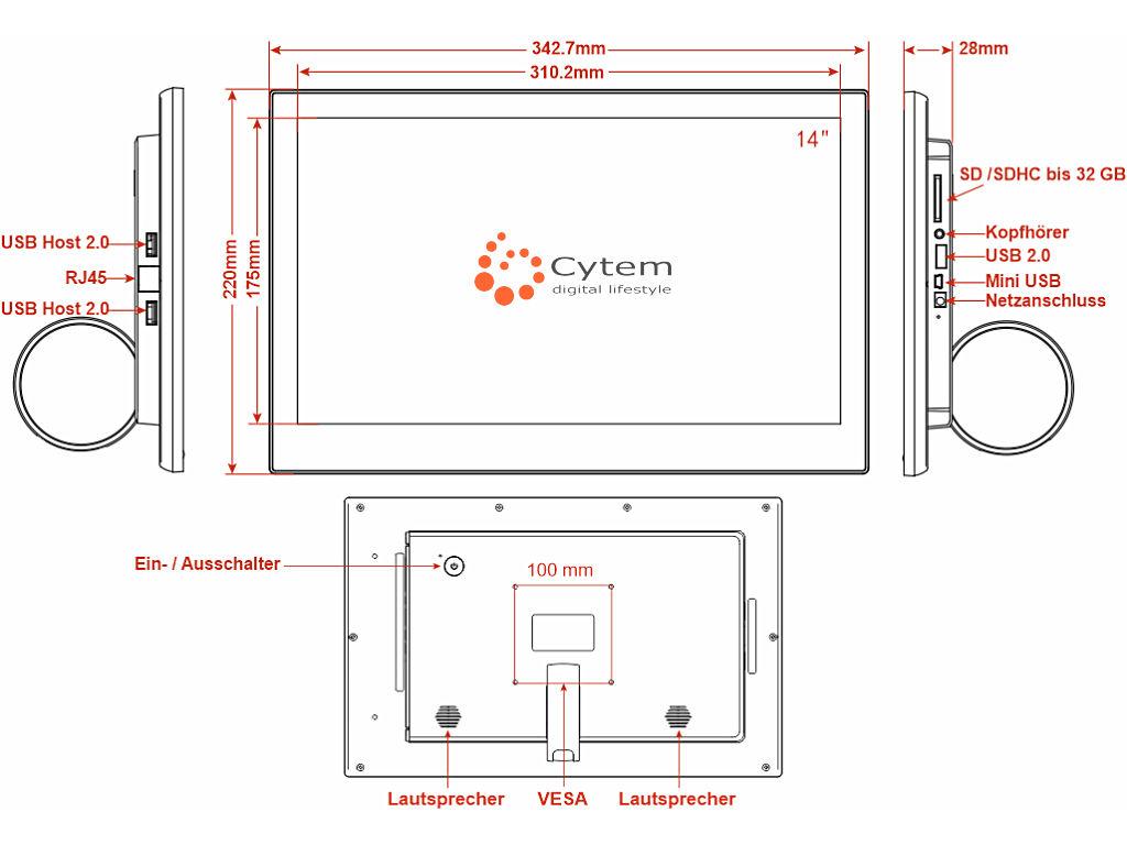 ShowMaster digitaler Bilderrahmen technische Zeichnung