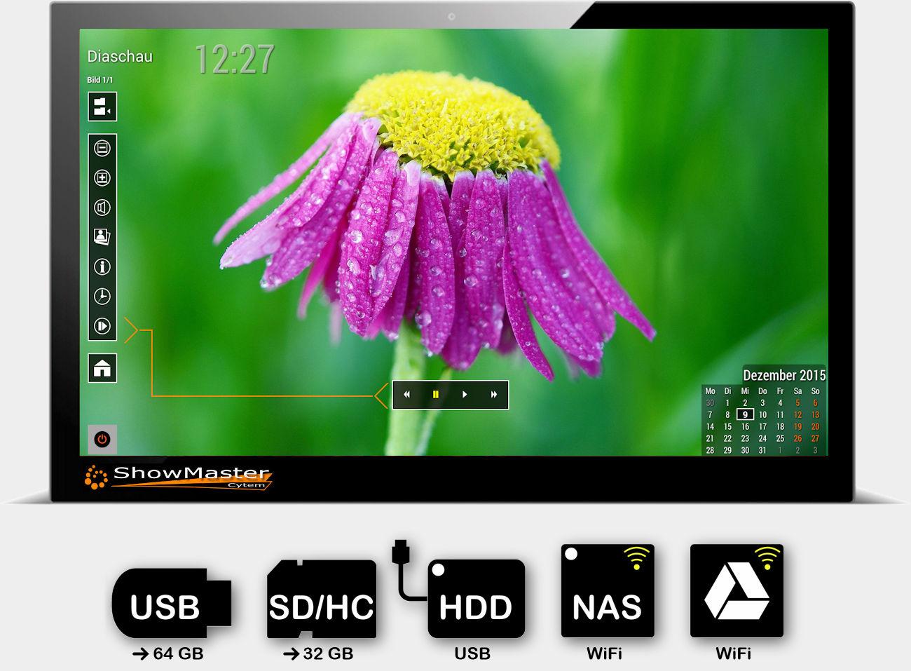 Cytem ShowMaster digitaler Bilderrahmen / unterstüzte Speichermedien Speichermedien. USB Stick, SD Karte, externe Festplatte, sowie per WiFi NAS und Google Drive