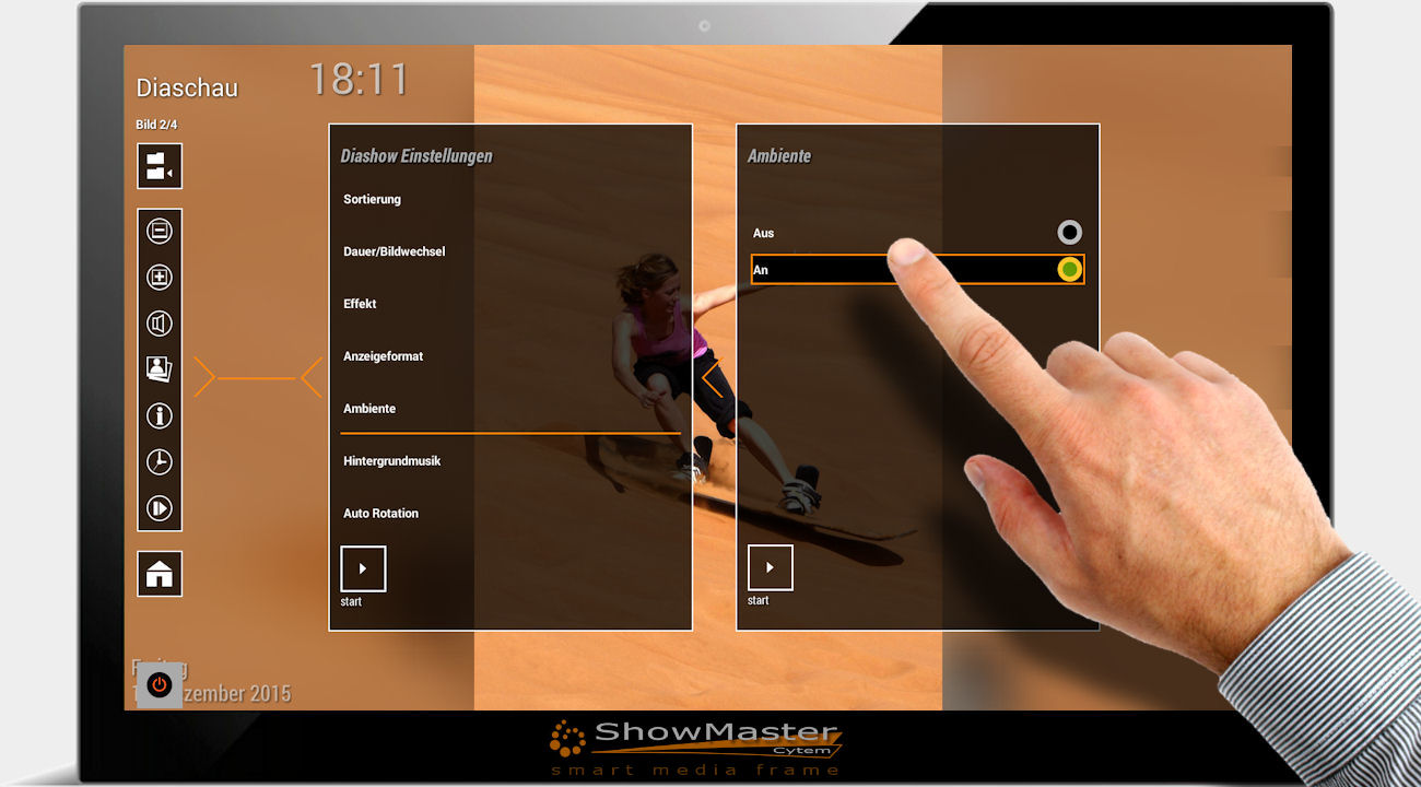 ShowMaster digitaler Bilderrahmen Ambiente einstellen