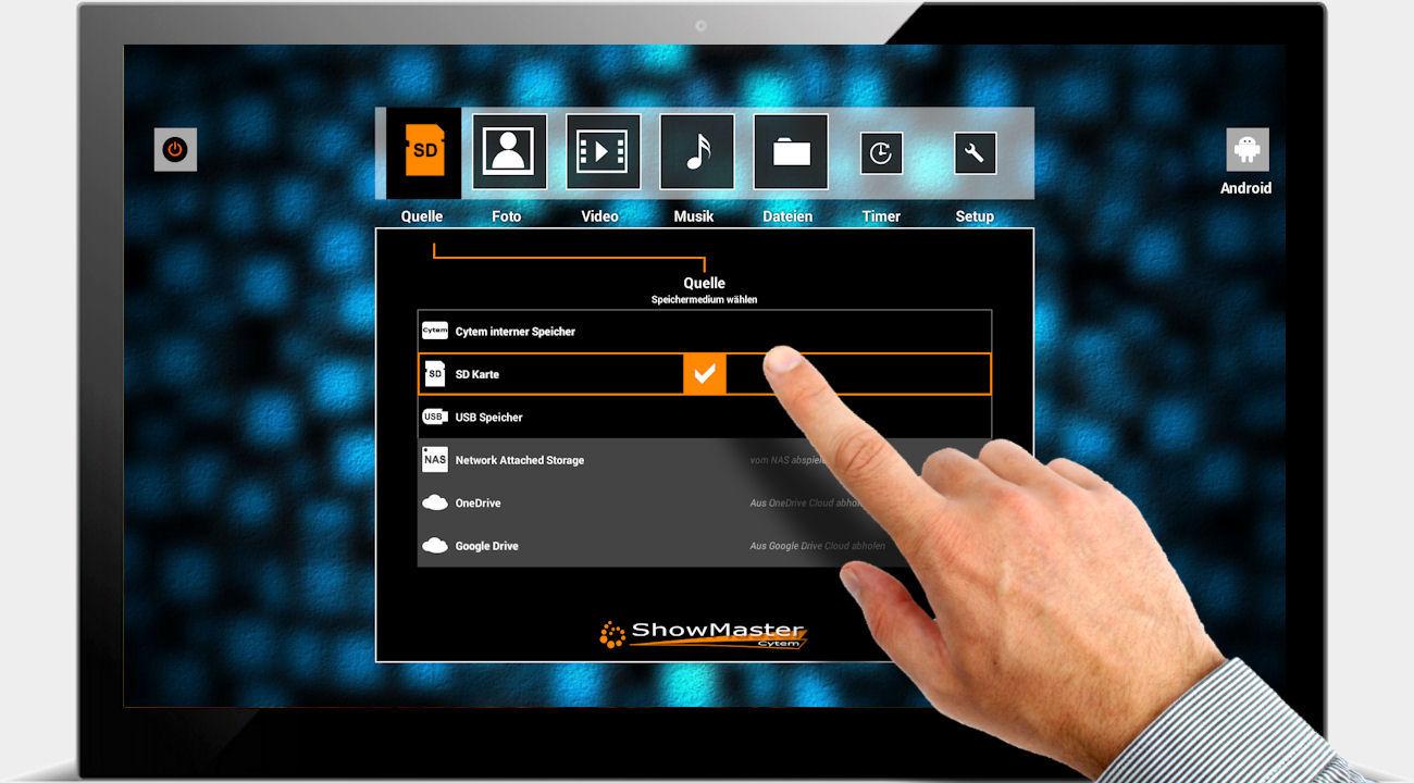 Digitaler Bilderrahmen ShowMaster / Auswählen der Quelle