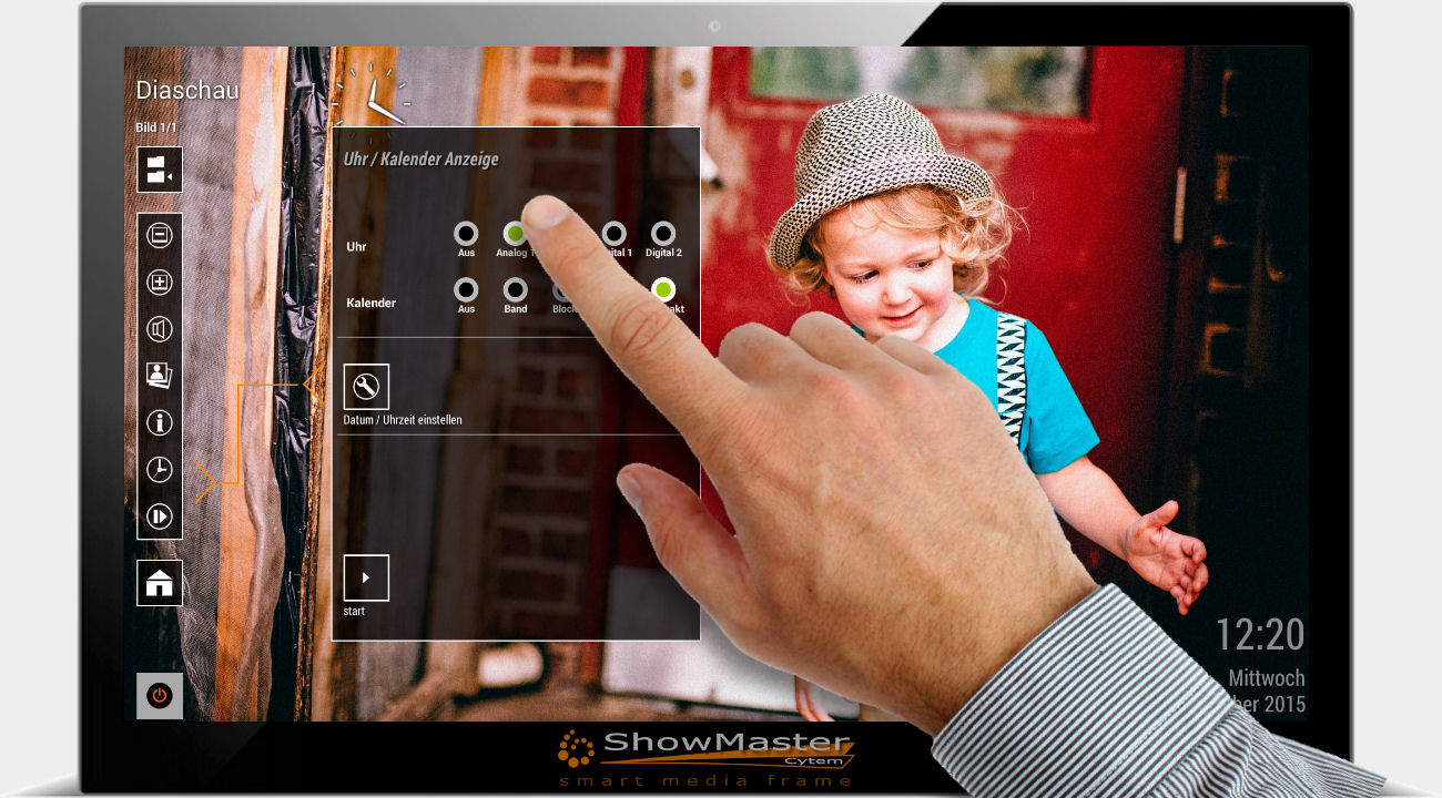 CytemShowmaster digitaler Bilderrahmen mit Touchscreen - Kalender einstellen