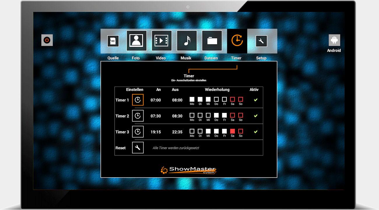 Cytem ShowMaster digitaler Bilderrahmen / mehrere Wochentimer in der Übersicht